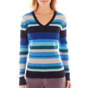 St. John's Bay® Long-Sleeve V-Neck Ribbed Sweater