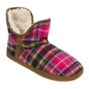 Dearfoams® Juniors Plaid Fleece Bootie Slippers