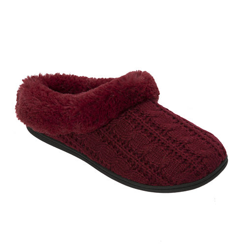 Dearfoams® Womens Cable Knit Clog Slippers