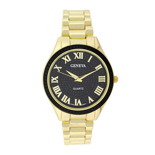 Geneva Womens Glitter Black Dial Gold-Tone Bracelet Watch