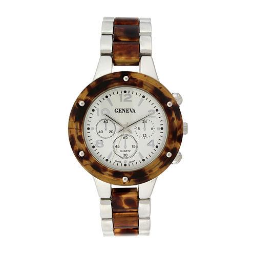 Geneva Womens Tortoise-Look and Silver-Tone Bracelet Watch