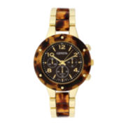 Geneva Womens Tortoise-Look and Gold-tone Bracelet Watch