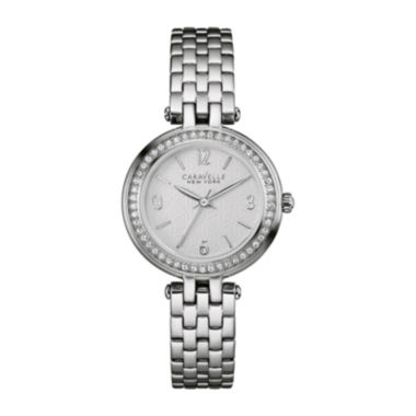 jcpenney.com | Caravelle New York® Womens Crystal-Accent Stainless Steel Bracelet Watch 43L185