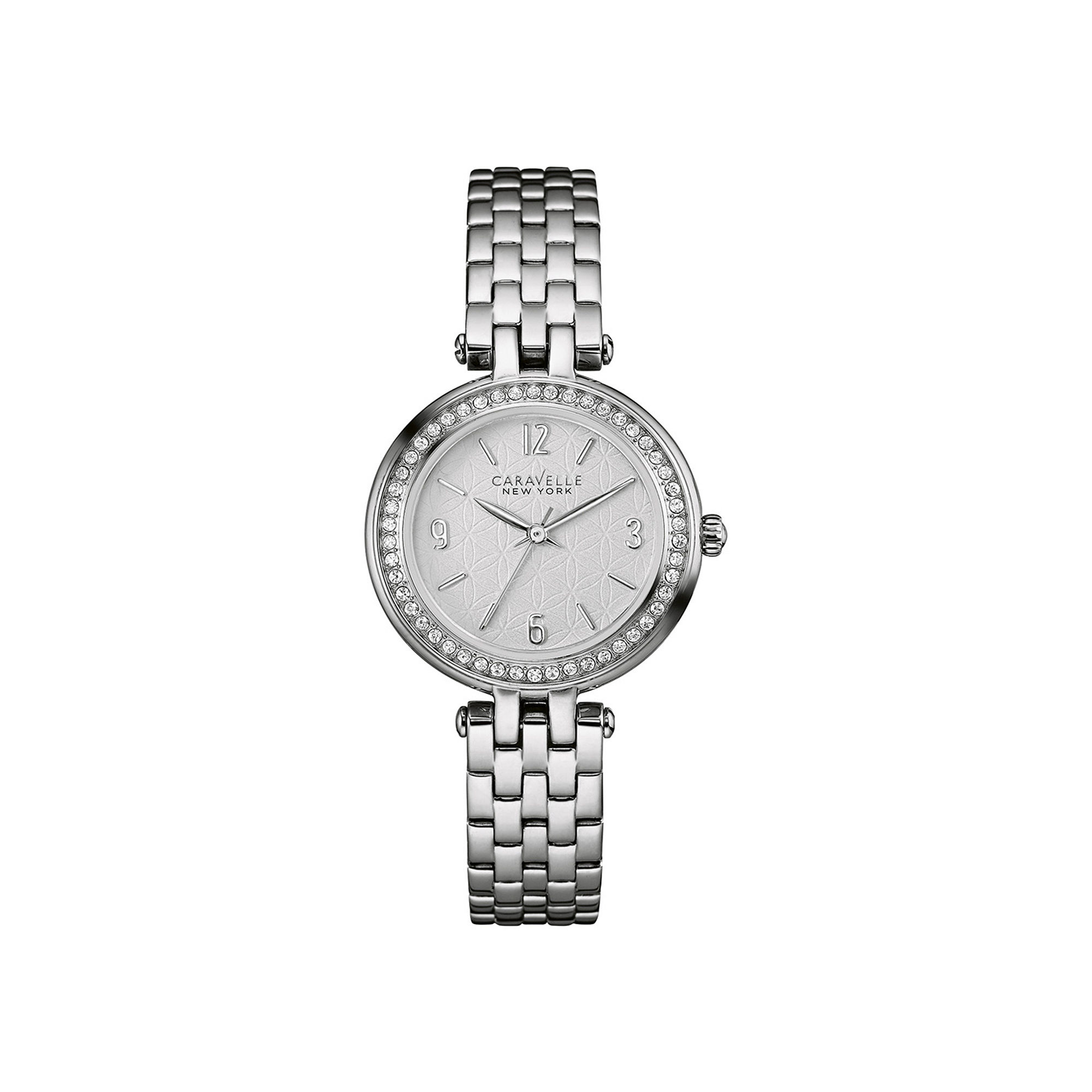 Caravelle New York Womens Crystal-Accent Stainless Steel Bracelet Watch 43L185