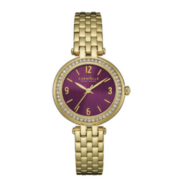 jcpenney.com | Caravelle New York® Womens Crystal-Accent Gold-Tone Bracelet Watch 44L174