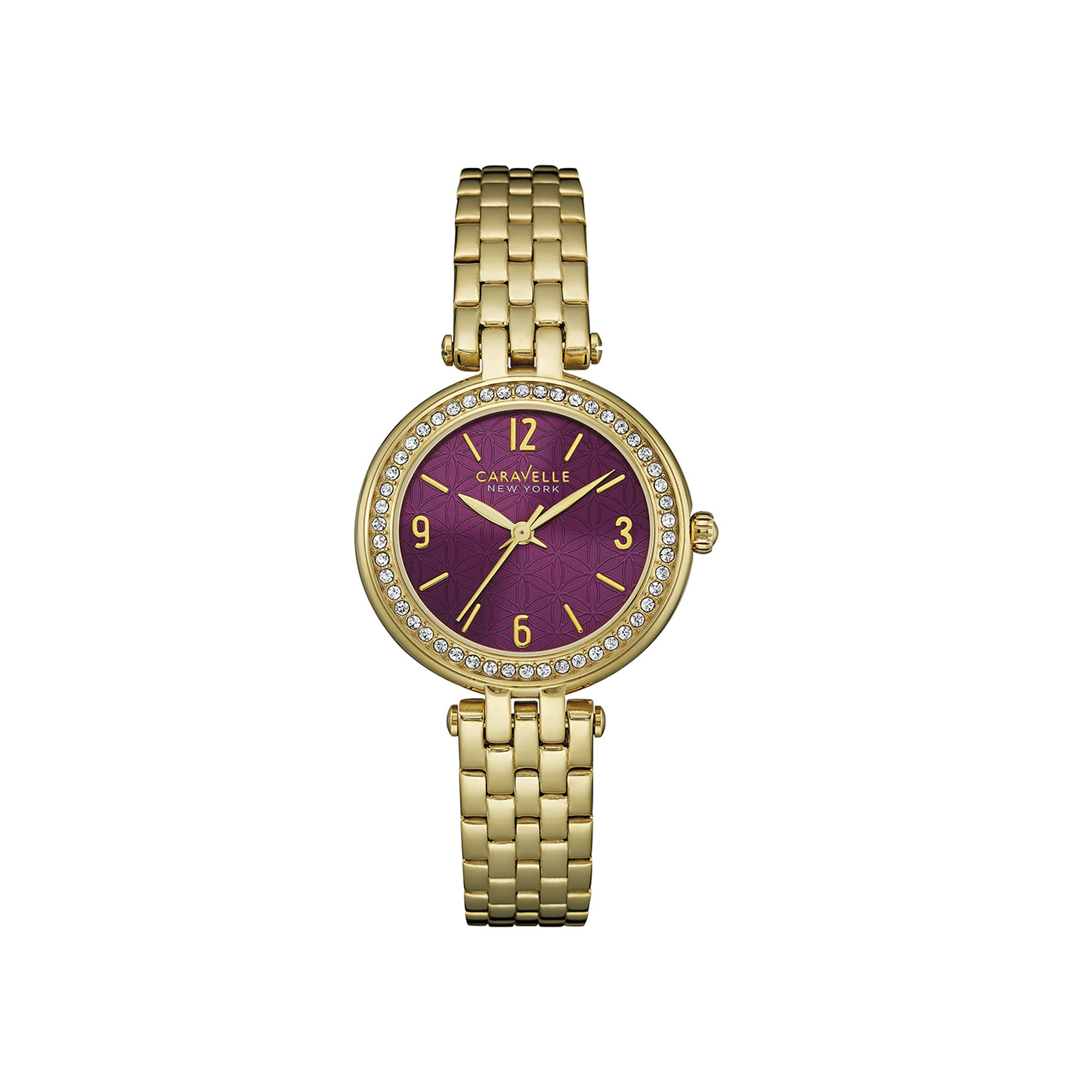 Caravelle New York Womens Crystal-Accent Gold-Tone Bracelet Watch 44L174