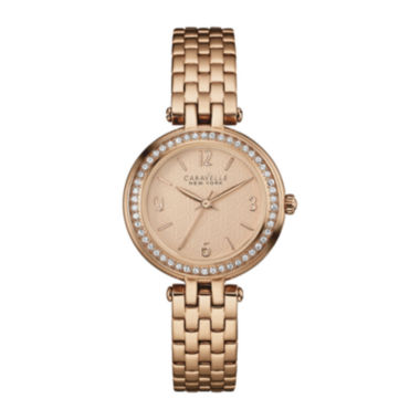 jcpenney.com | Caravelle New York® Womens Crystal-Accent Rose-Tone Stainless Steel Watch 44L175