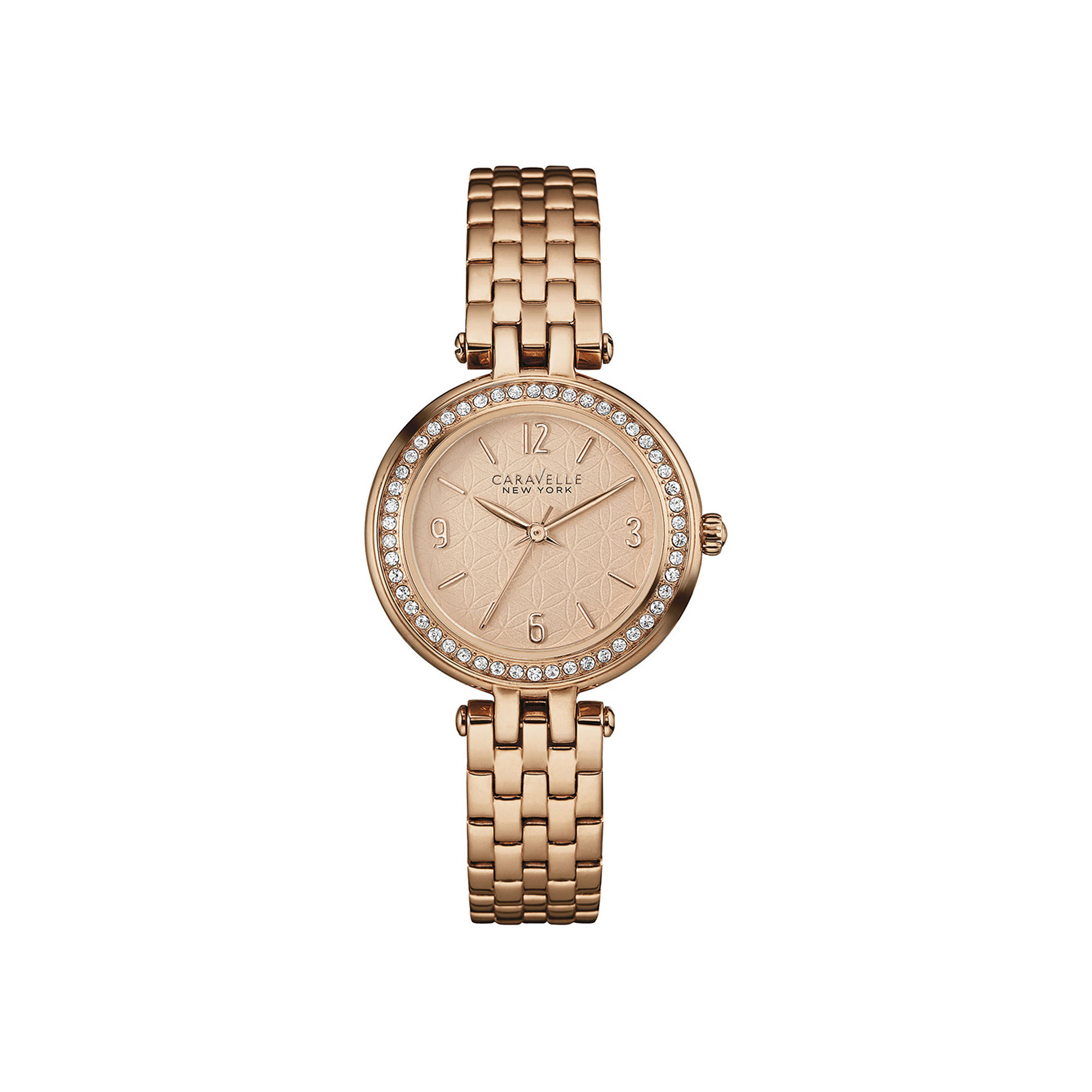 Caravelle New York Womens Crystal-Accent Rose-Tone Stainless Steel Watch 44L175