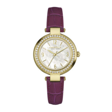jcpenney.com | Caravelle New York® Womens Crystal-Accent Purple Leather Strap Watch 44L176