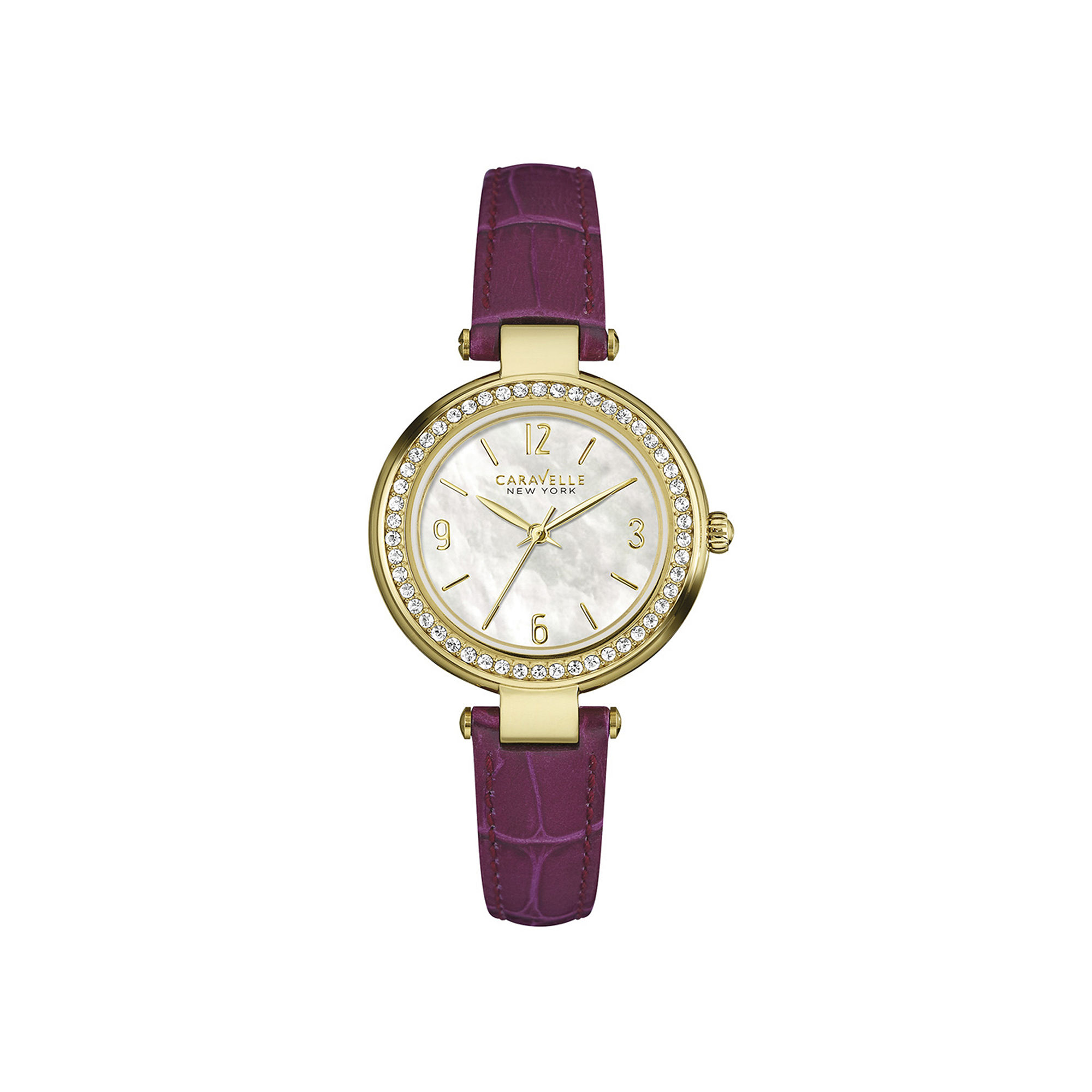 Caravelle New York Womens Crystal-Accent Purple Leather Strap Watch 44L176
