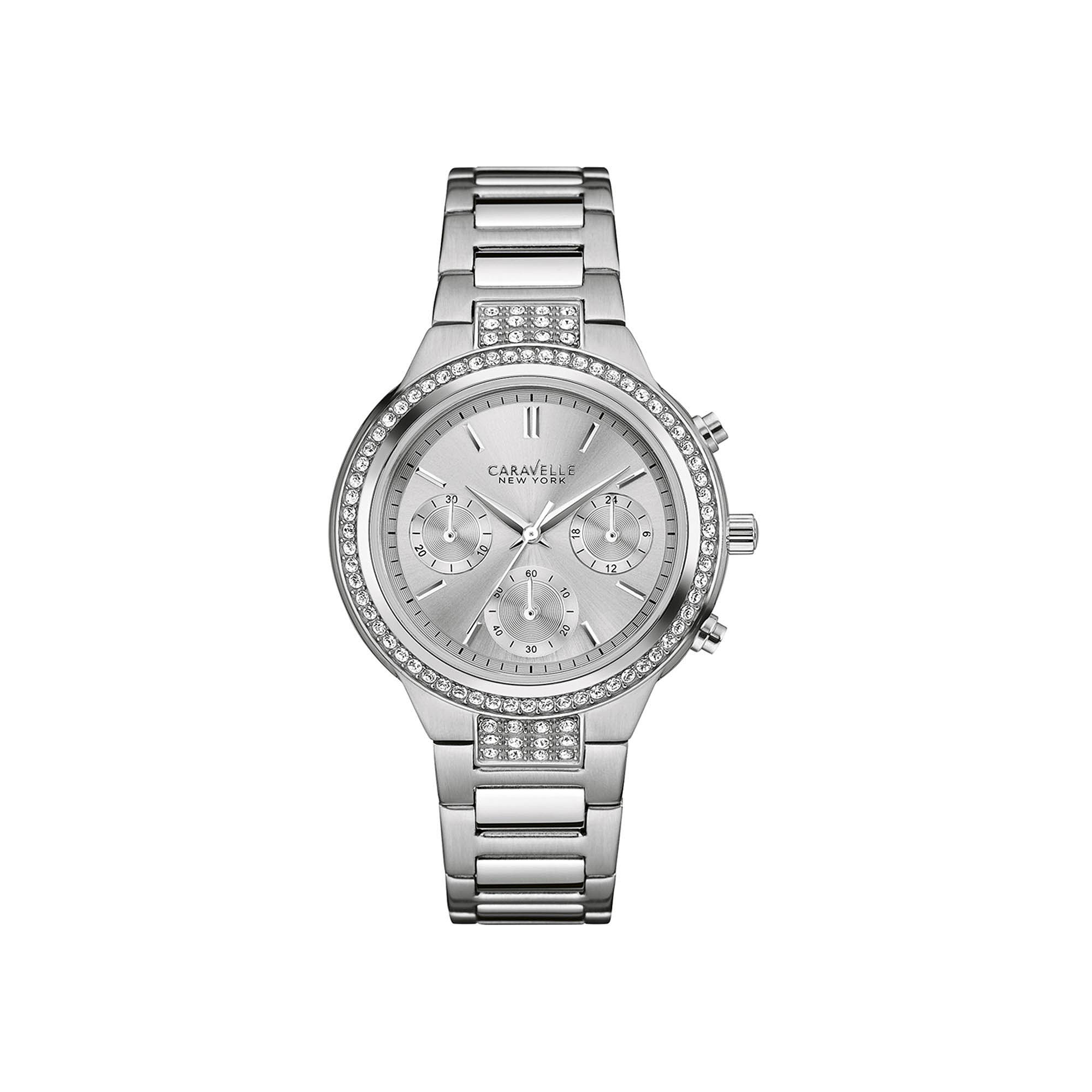 Caravelle New York Womens Crystal-Accent Stainless Steel Bracelet Watch 43L186