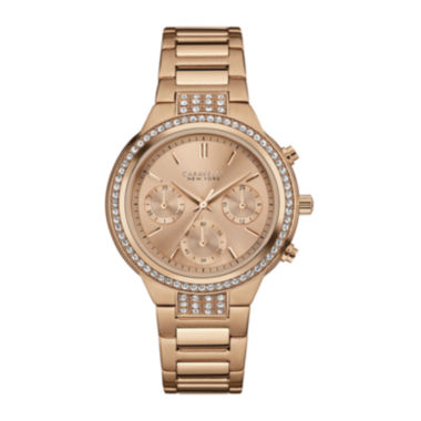 jcpenney.com | Caravelle New York® Womens Crystal-Accent Rose-Tone Stainless Steel Watch 44L180
