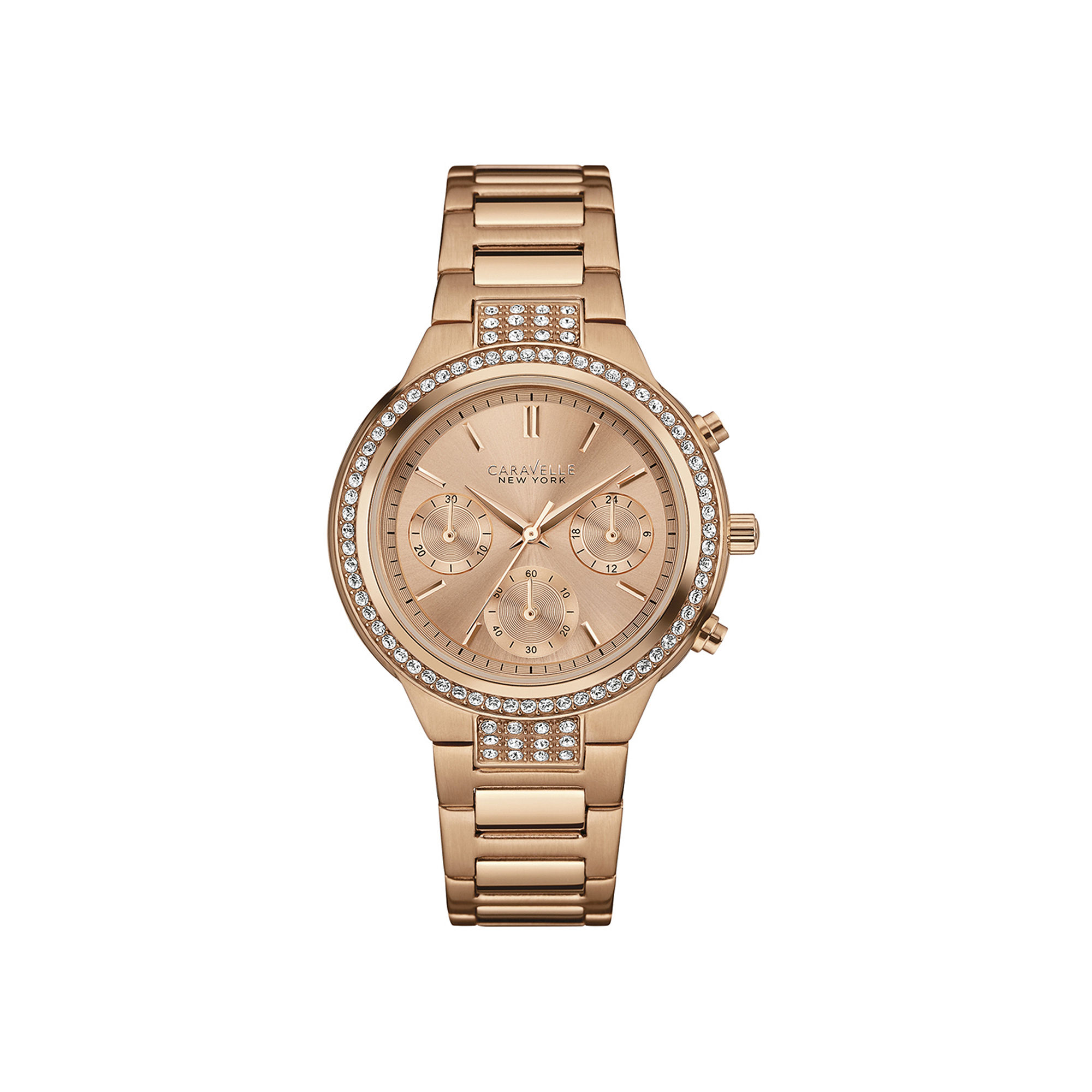 Caravelle New York Womens Crystal-Accent Rose-Tone Stainless Steel Watch 44L180