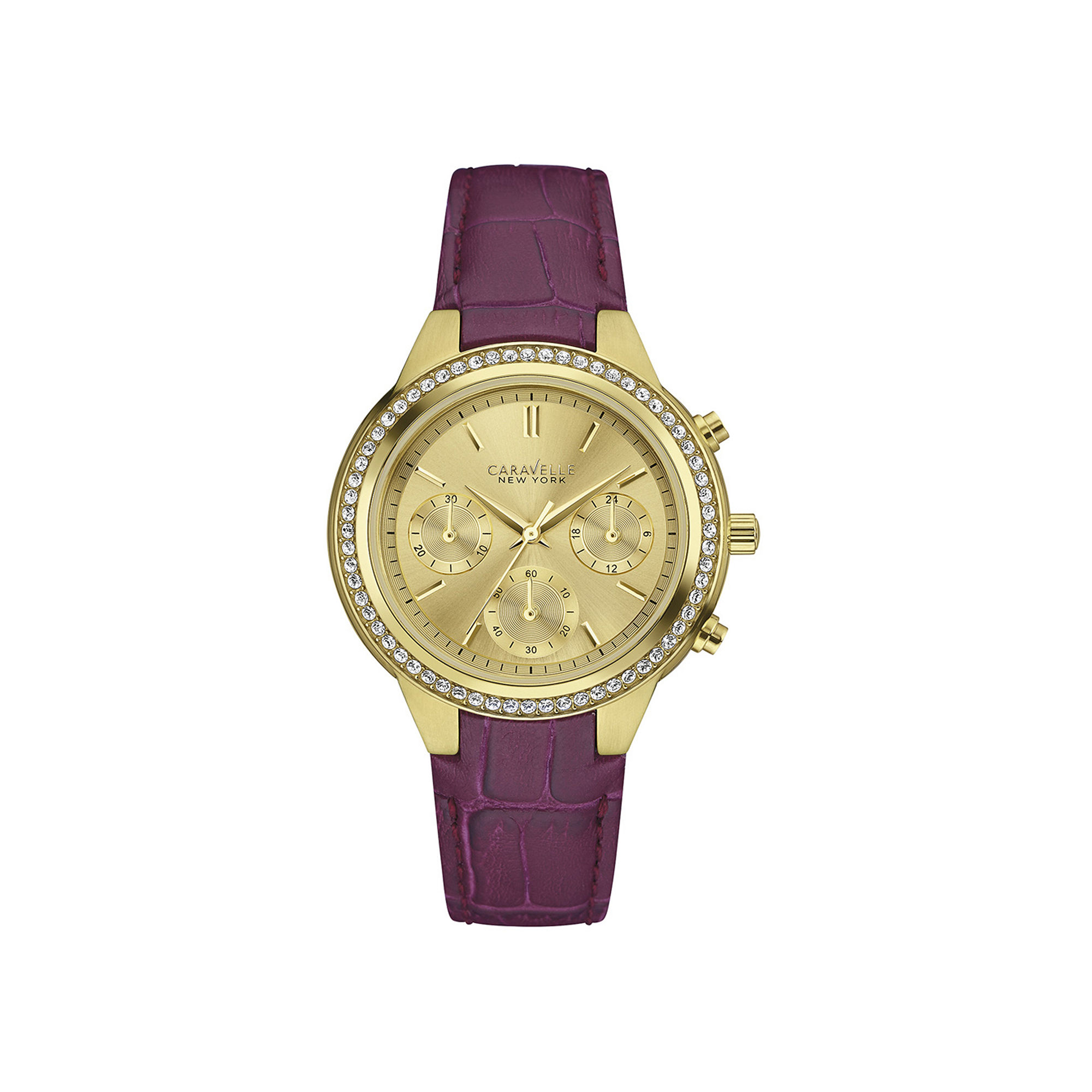 Caravelle New York Womens Crystal-Accent Purple Leather Strap Watch 44L182