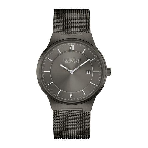 Caravelle New York® Mens Gunmetal Stainless Steel Mesh Watch 45B140