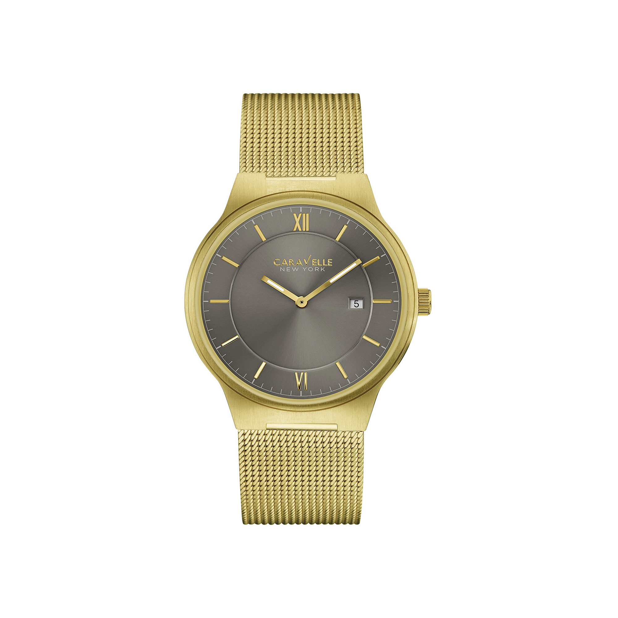 Caravelle New York Mens Gold-Tone Stainless Steel Mesh Watch 44B110