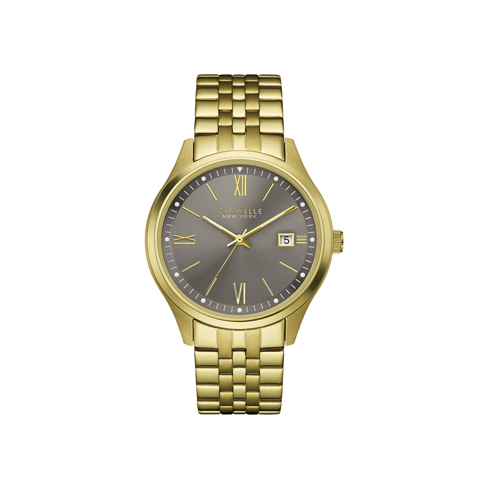 Caravelle New York Mens Gold-Tone Stainless Steel Watch 44B111