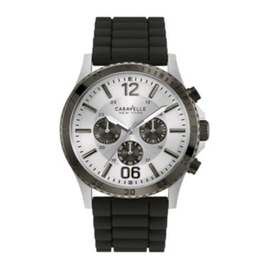 jcpenney.com | Caravelle New York® Mens Black Silicone Strap Watch 45A126