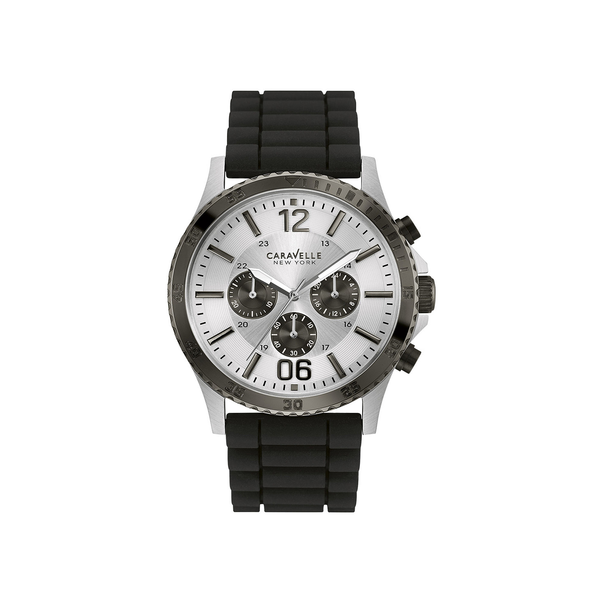 Caravelle New York Mens Black Silicone Strap Watch 45A126