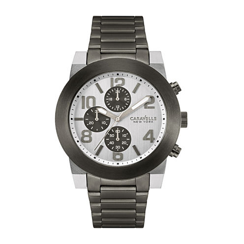 Caravelle New York® Mens Gray Stainless Steel Watch 45A127