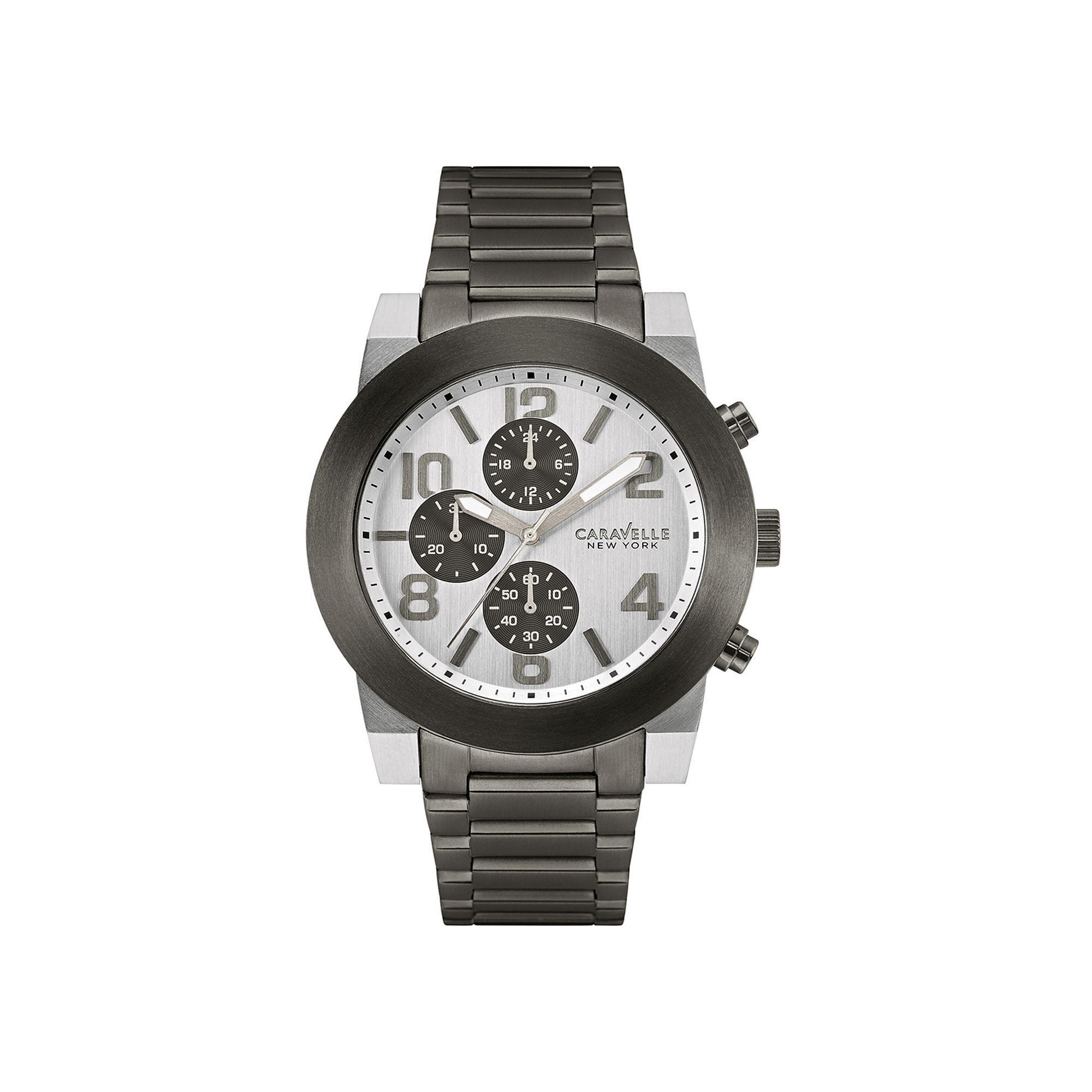 Caravelle New York Mens Gray Stainless Steel Watch 45A127
