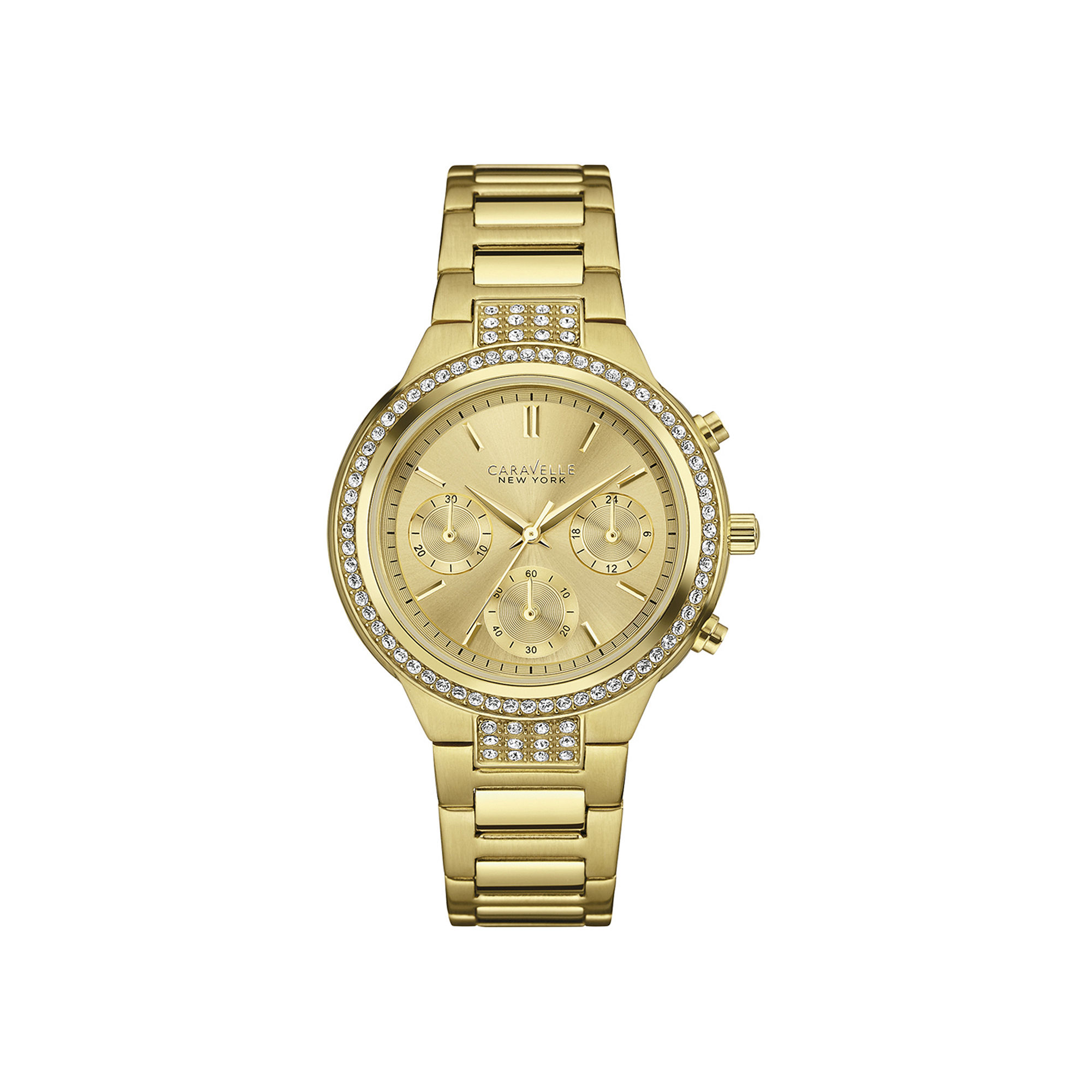 Caravelle New York Womens Crystal-Accent Chronograph Bracelet Watch 44L179