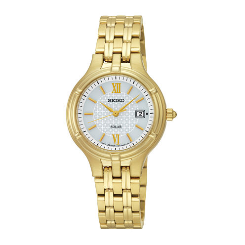 Seiko® Womens Gold-Tone Stainless Steel Solar Bracelet Watch SUT220