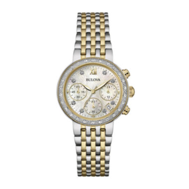 jcpenney.com | Bulova® Diamonds Maiden Lane Womens Diamond-Accent Two-Tone Watch 98R214