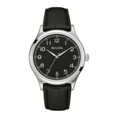 jcpenney.com | Bulova® Classic Mens Black Dial Black Leather Strap Watch 96B233