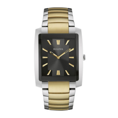 jcpenney.com | Bulova® Classic Mens Rectangular Two-Tone Stainless Steel Watch 98A149