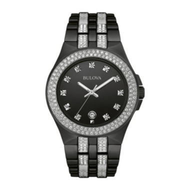 jcpenney.com | Bulova® Crystal Mens Crystal-Accent Black Stainless Steel Watch 98B251