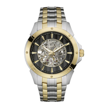 jcpenney.com | Bulova® Automatic Mens Two-Tone Stainless Steel Skeleton Watch 98A146