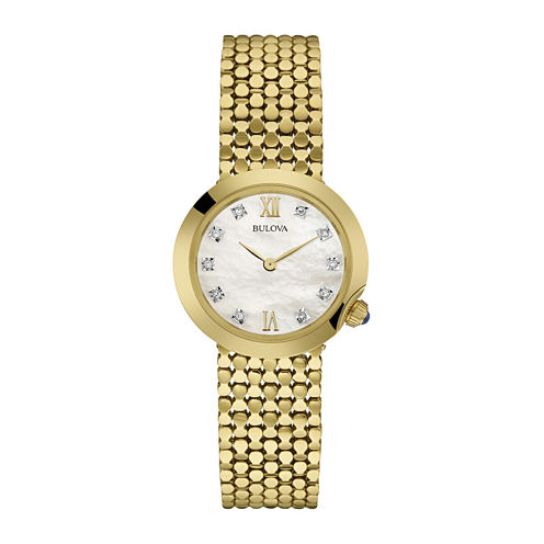 Bulova® Diamonds Womens Diamond-Accent Gold-Tone Stainless Steel Mesh Watch 97P114