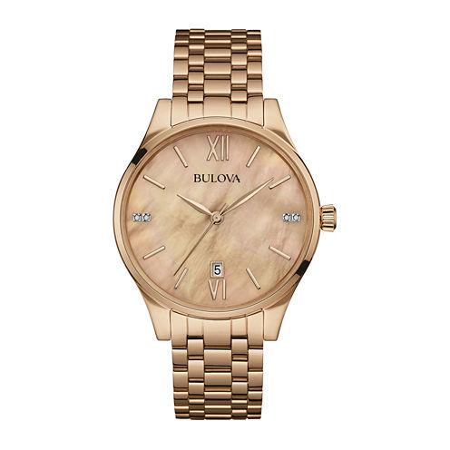 Bulova® Diamonds Womens Diamond-Accent Rose-Tone Stainless Steel Bracelet Watch 97P113