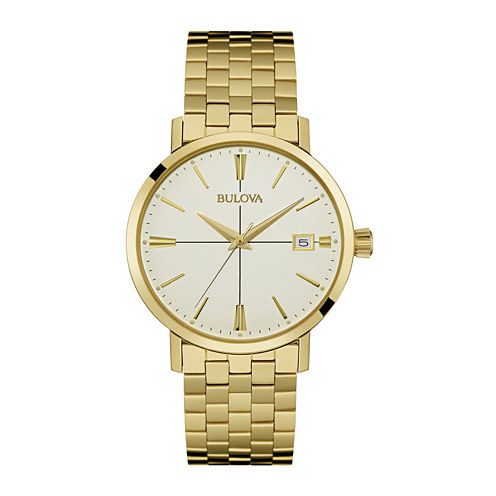 Bulova® Classic Mens Gold-Tone Stainless Steel Watch 97B152