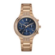 Caravelle New York® Womens Crystal-Accent Rose-Tone Stainless Steel Chronograph Bracelet Watch 44L181