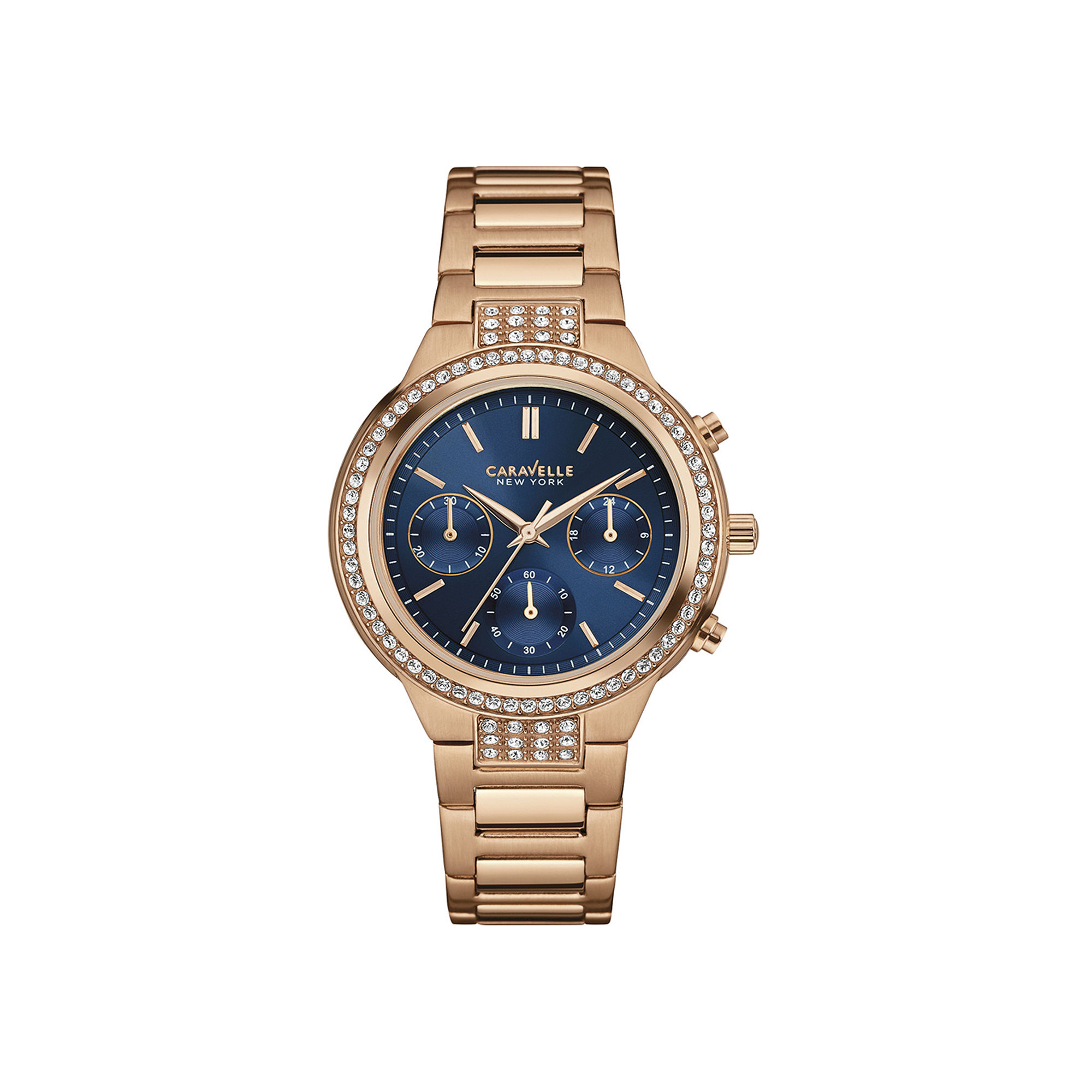 Caravelle New York Womens Crystal-Accent Rose-Tone Stainless Steel Chronograph Bracelet Watch 44L181