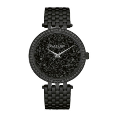 jcpenney.com | Caravelle New York® Womens Crystal-Accent Black Stainless Steel Bracelet Watch 45L147