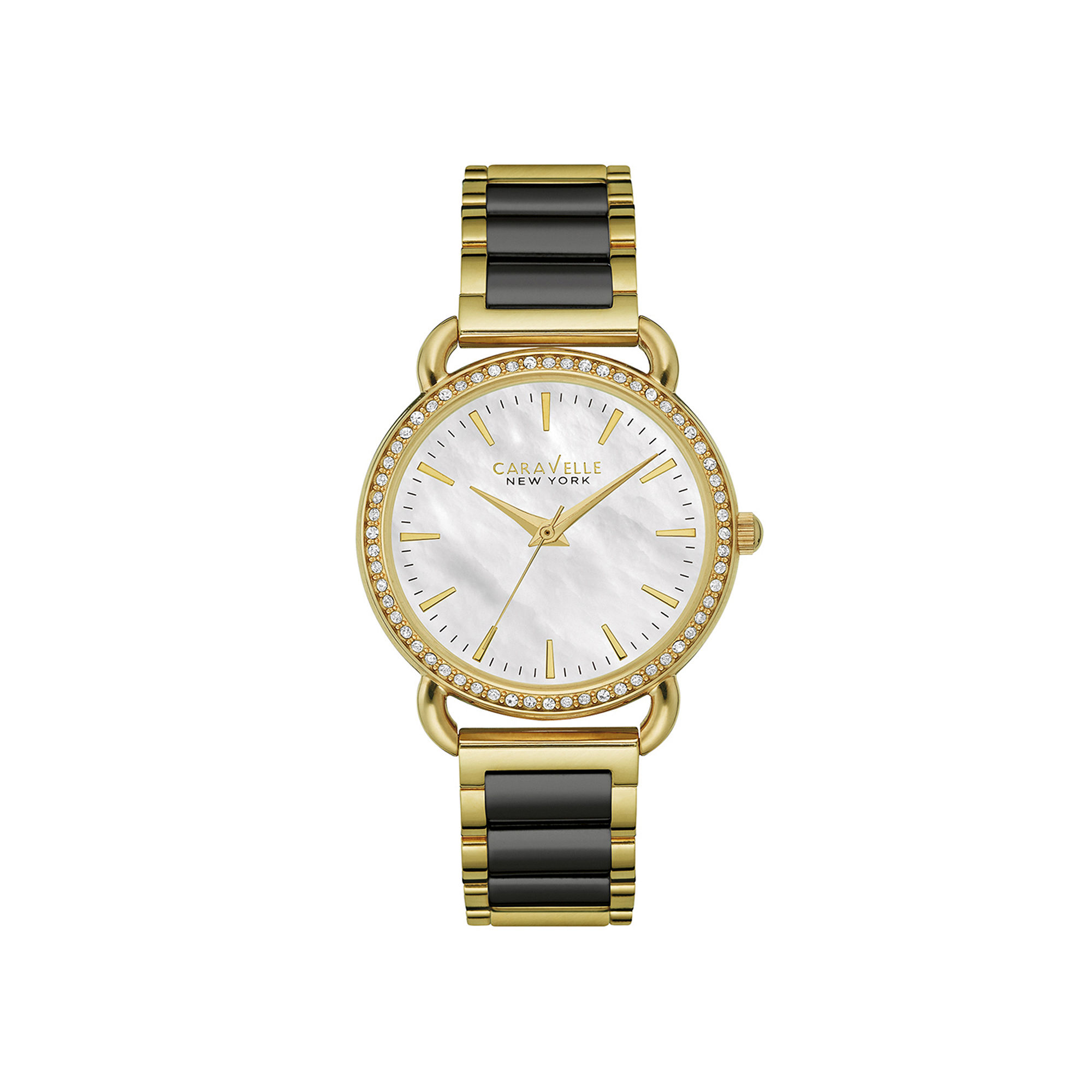 Caravelle New York Womens Crystal-Accent Two-Tone Stainless Steel Bracelet Watch 44L187