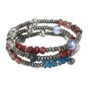 Bleu™ Multicolor Stone Silver-Tone Coil Bracelet