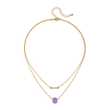 jcpenney.com | Mixit™ Purple Stone 2-Row Gold-Tone Necklace
