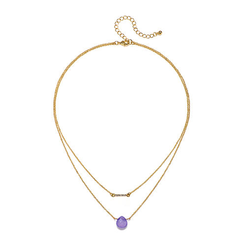 Mixit™ Purple Stone 2-Row Gold-Tone Necklace