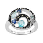 Marcasite and Blue Stone Silver-Plated Orbit Ring