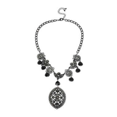 jcpenney.com | Mixit™ Black Lace-Look Cutout Necklace