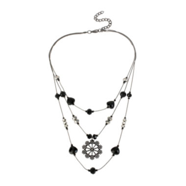 jcpenney.com | Mixit™ Black Stone Silver-Tone Flower Illusion Necklace