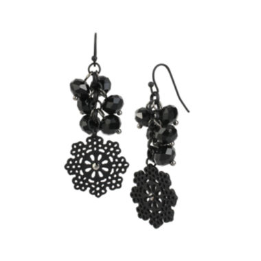 jcpenney.com | Mixit™ Black Bead Silver-Tone Flower Drop Earrings