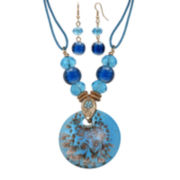 Mixit™ Brown and Teal Murano Glass Earring and Pendant Necklace Set