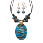 Mixit™ Blue and Brown Murano Glass Earring and Pendant Necklace Set