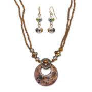 Mixit™ Brown Murano Glass Earring and Pendant Necklace Set