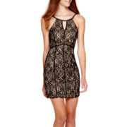 My Michelle® Sleeveless Allover Lace Halter Dress